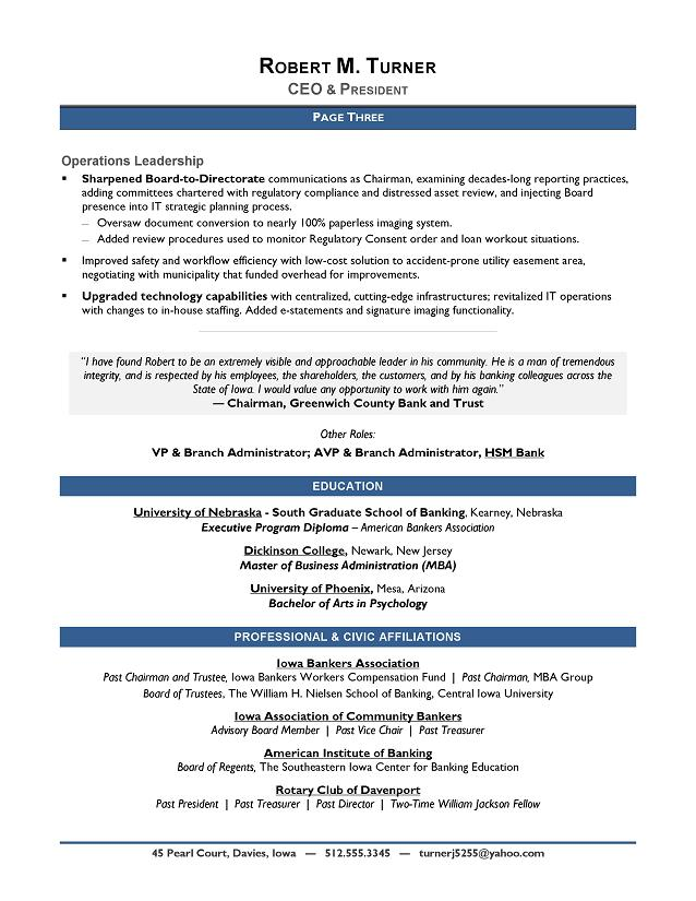 Award-Winning CEO Sample Resume - CEO Resume Writer - Executive - group resume template