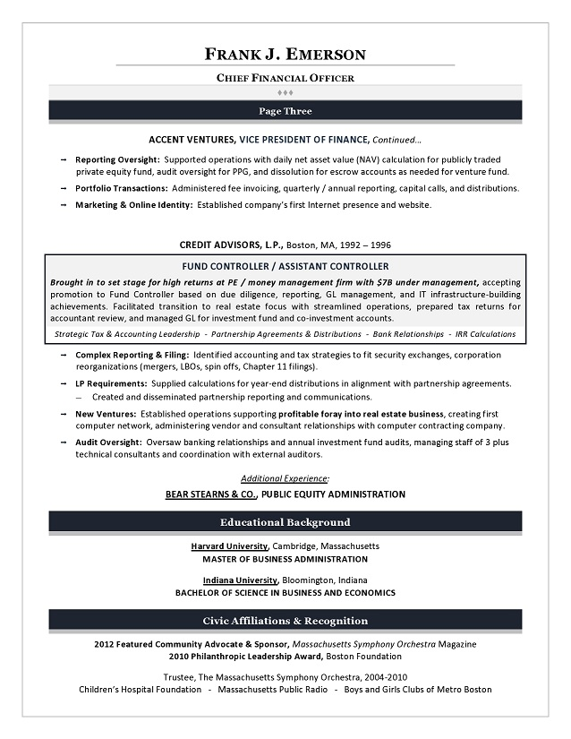 Sample CFO Resume - Example of Executive Resume Trends 2015 - Fiscal Officer Sample Resume