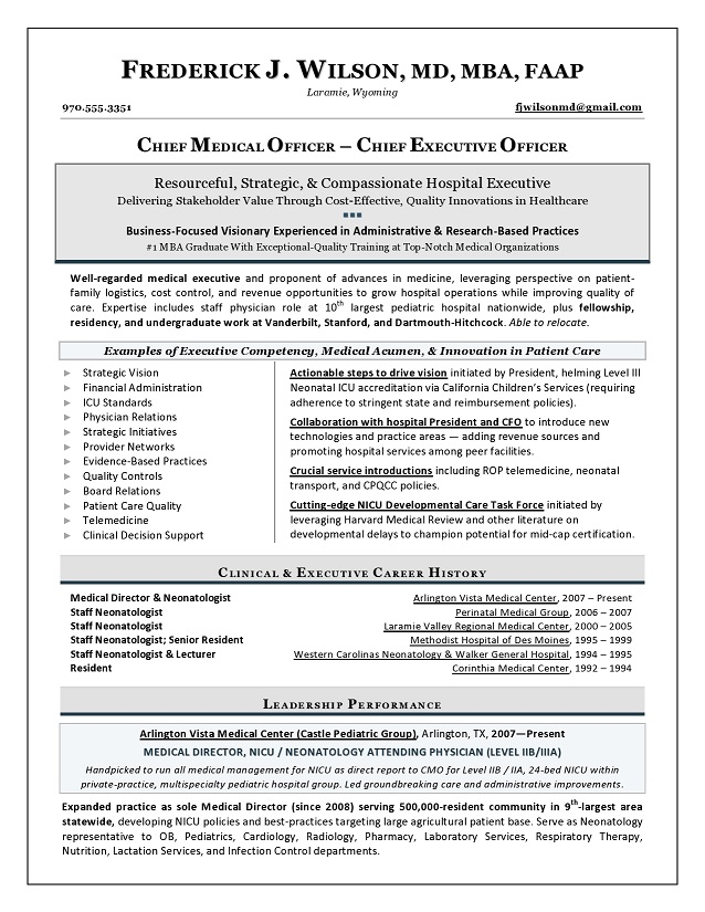 Chief Medical Officer Sample Resume - Executive resume writer for