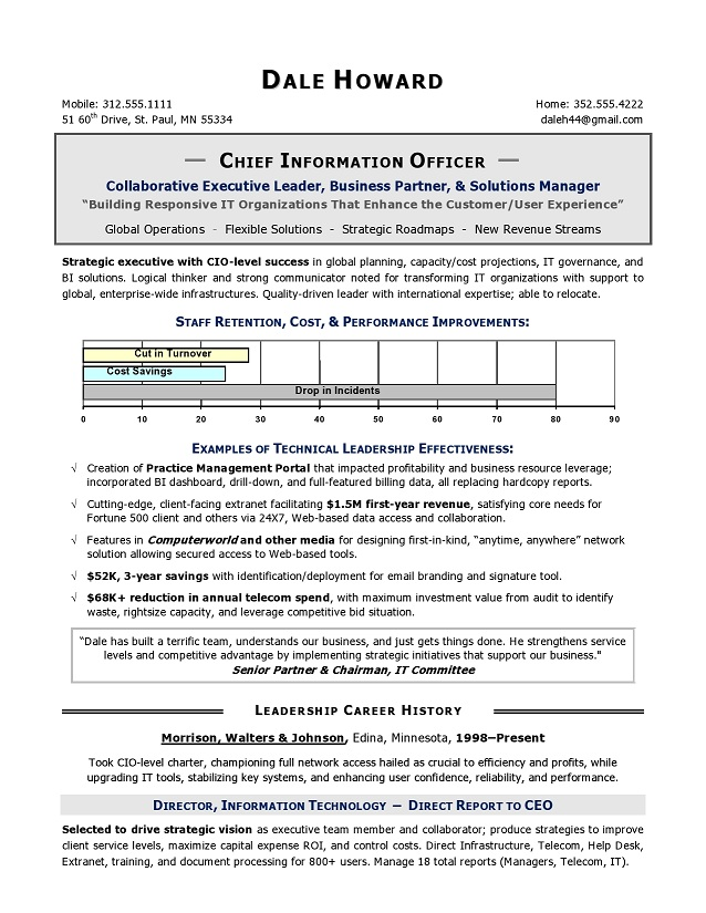 CIO Sample Resume, Chief Information Officer Resume, IT resume - sample of it resume