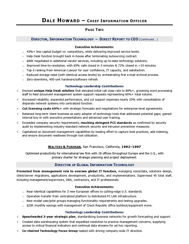 CIO Sample Resume, Chief Information Officer Resume, IT resume - It Professional Resume Examples