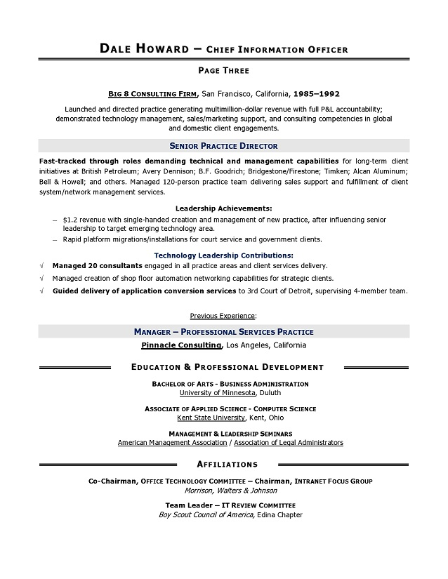 CIO Sample Resume, Chief Information Officer Resume, IT resume - Chief Technology Officer Sample Resume