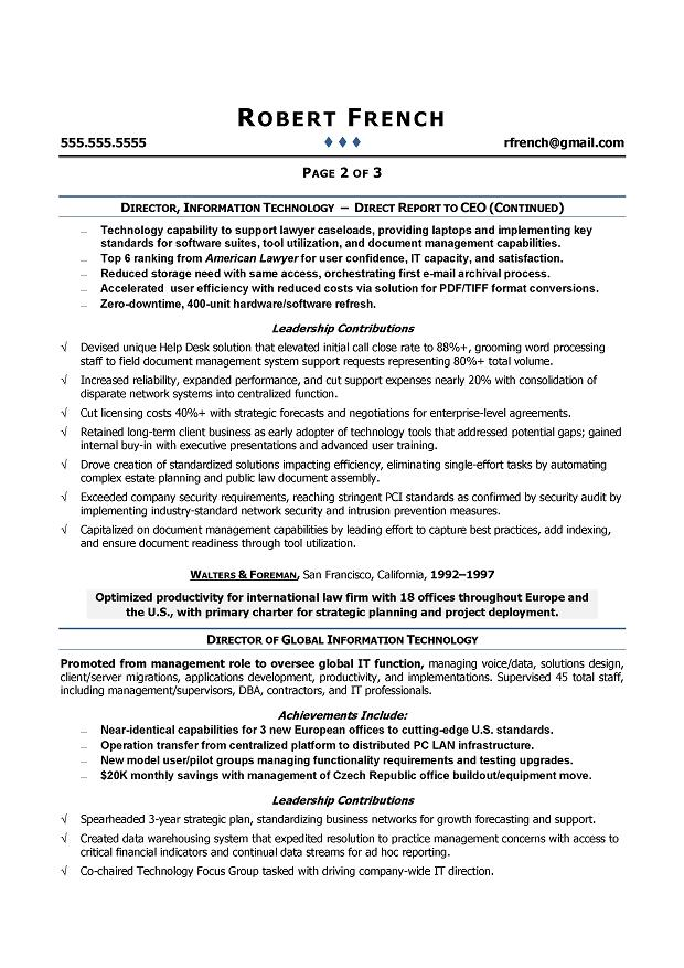 CIO Sample Resume - Chief Information Officer Resume - IT Executive - information management officer sample resume