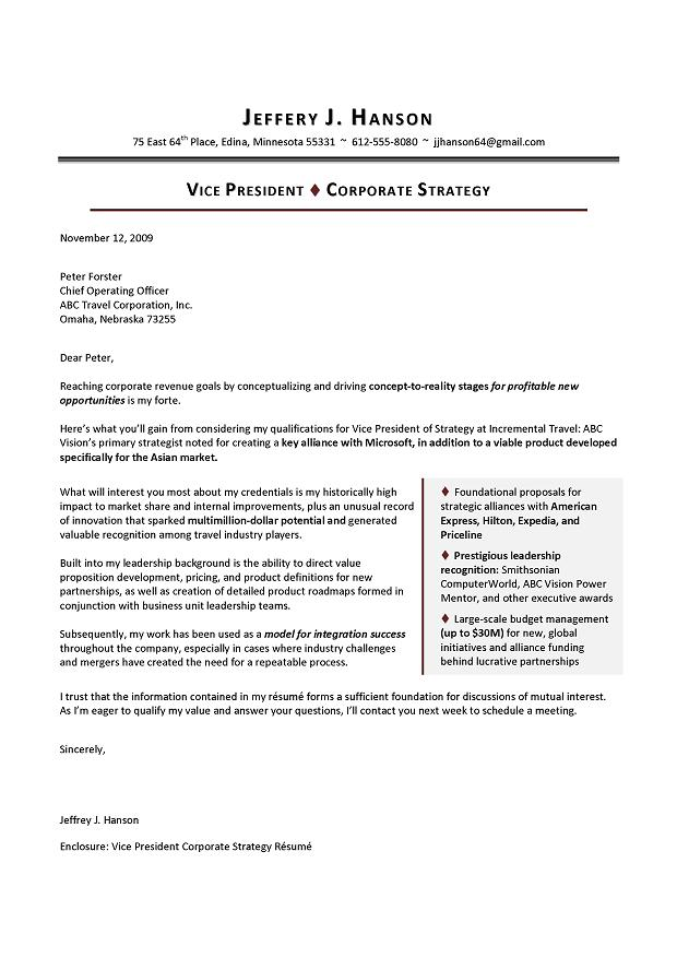 Sample Cover Letter for VP Corporate Strategy - Executive resume - what to say in a resume cover letter