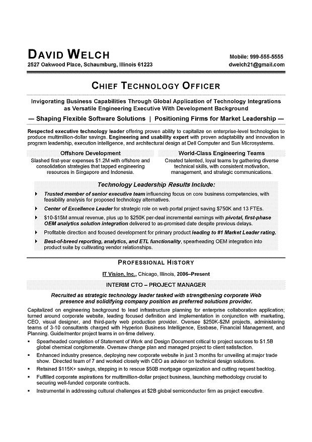 CIO Sample Resume - CTO Sample Resume - IT Executive resume writer - example or resume