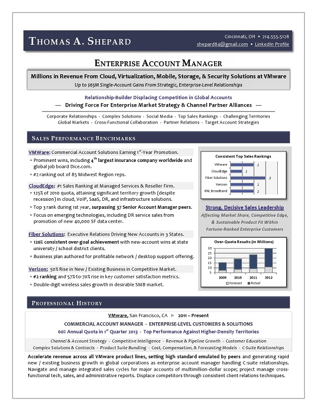 Best Executive Resume Writer - Award-Winning Sales Sample Resume by