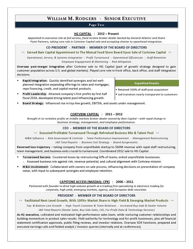 sample executive leadership resume
