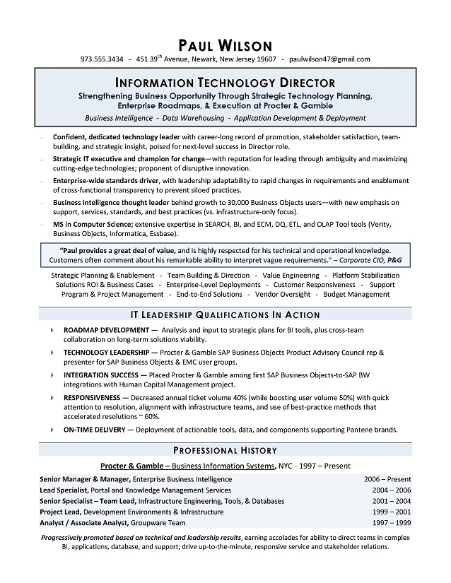 IT Director Sample Resume, Sample IT Resume, IT Resume Writing Services - it director resume