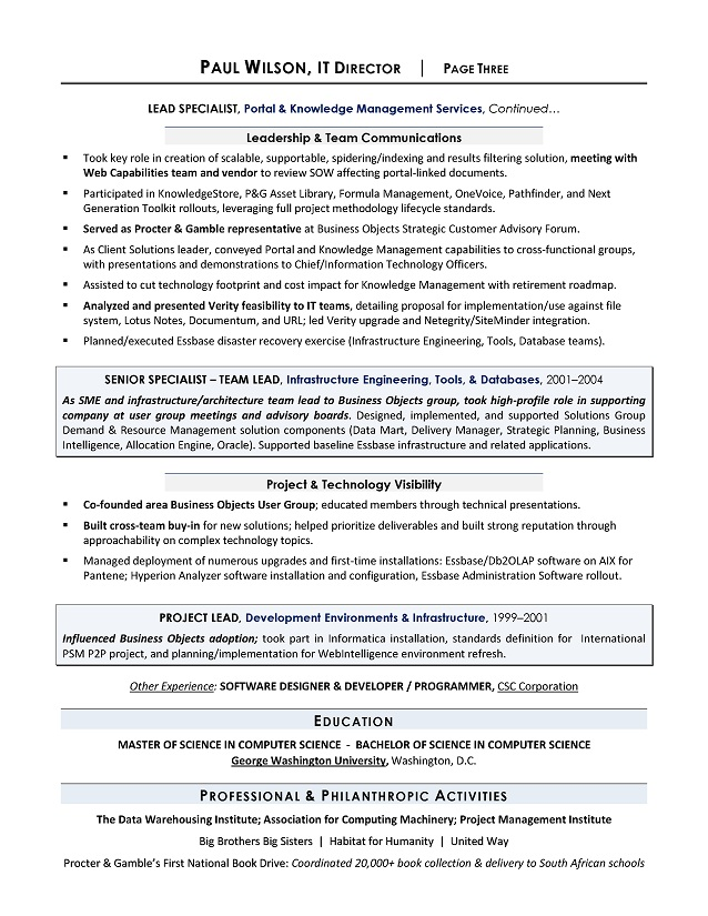 IT Director Sample Resume, Sample IT Resume, IT Resume Writing Services