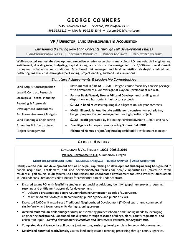 Land Development Manager Sample Resume - Executive resume writer for - how to write a business resume