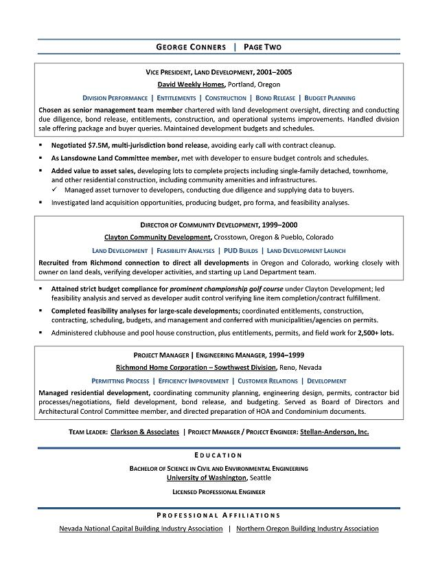Land Development Manager Sample Resume - Executive resume writer for