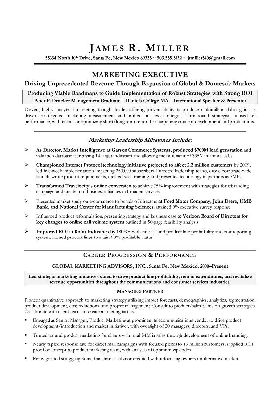 Marketing Director Sample Resume - CMO Marketing Sample Resume - marketing executive resume samples