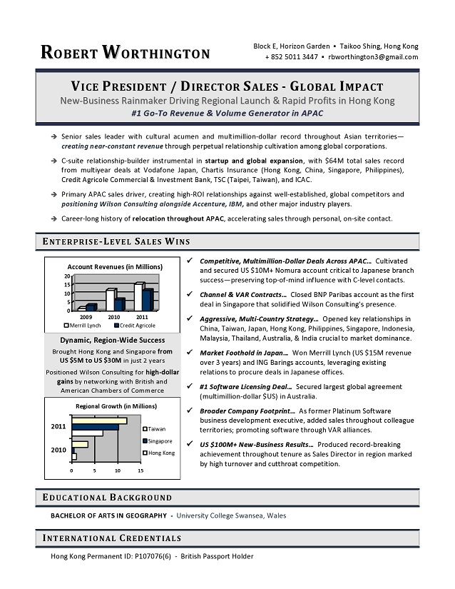 VP Sales Sample Resume - Executive resume writer VP, Director, CTO - executive resume formats and examples