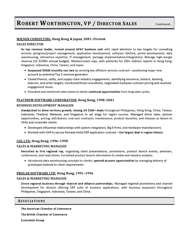 Vice President Sales Sample Resume, VP Sales Resume Example - Channel Sales Resume