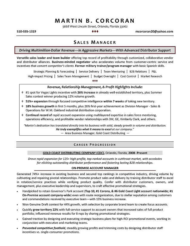 Sales Manager Sample Resume - Executive resume writer for Operations - how to write a resume for a sales position