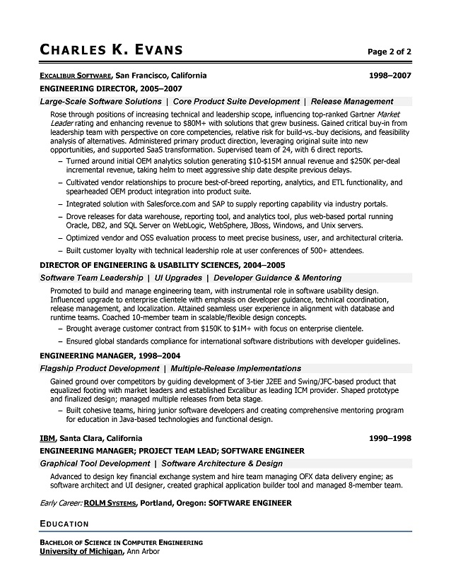 Sample Software Engineer Resume - Software Engineering Resume - senior software engineer resume