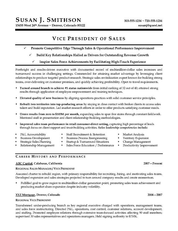 vp international sales resume