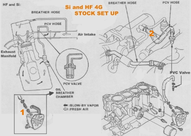 d16 engine diagram oil catch