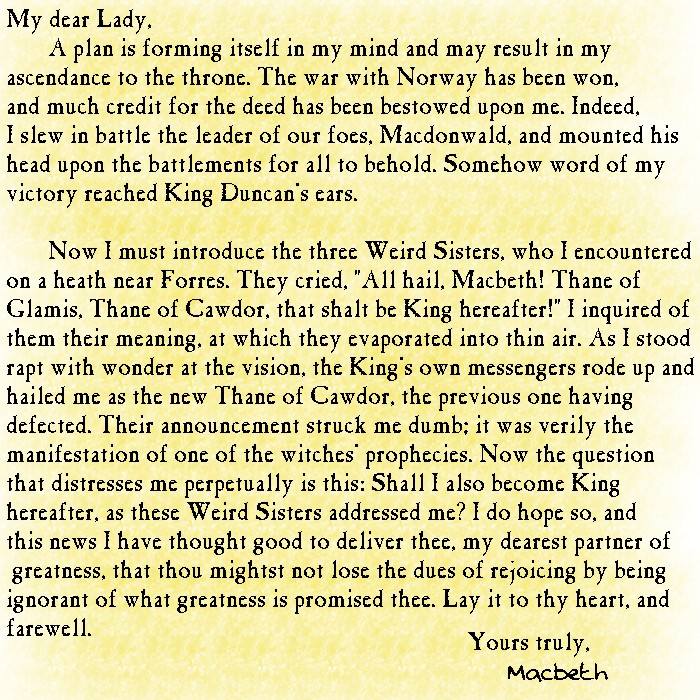 Macbeth\u0027s Letter to Lady Macbeth