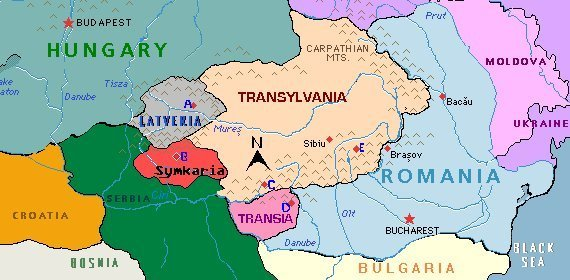 Map showing Latveria and its neighboring countries Doctor Doom - blank road map