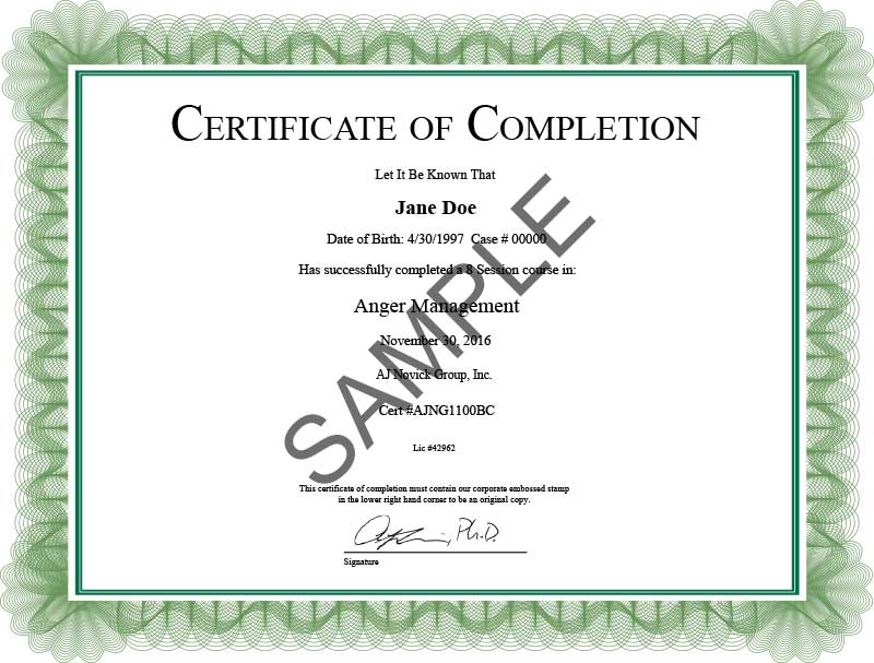 Anger Management Certificate of Completion