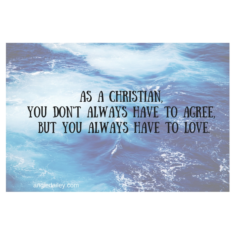 As a Christian, you don't always have to agree, but you Always have to Love.