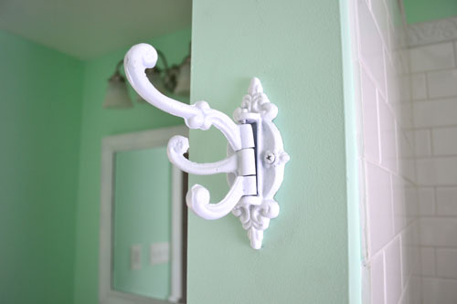 White Iron Towel Hook