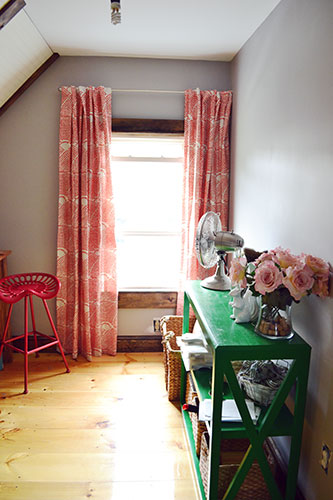 Etsy Office With Coral Curtains