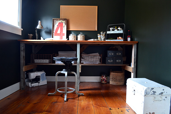 Craft Room Painted Dark Green And A Scrap Wood Work Table