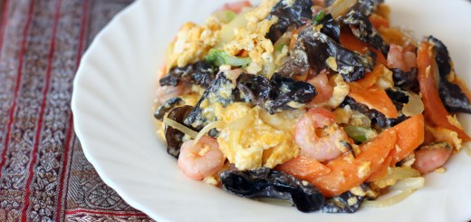 Fried Egg with Black Fungus and Shrimps Wide