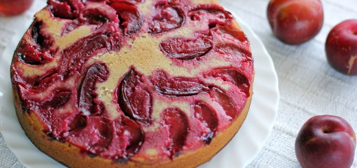 Plum and Boysenberry Yoghurt Cake Wide