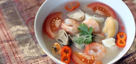 Thai Seafood Soup (Tom Yum Talay) Wide