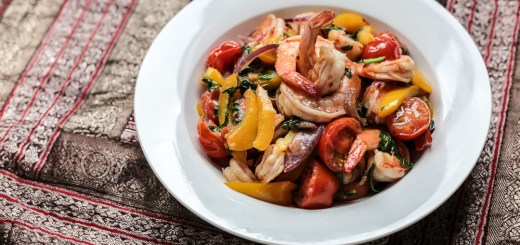 Thai Shrimp Stir-fry with Tomatoes and Basil Wide
