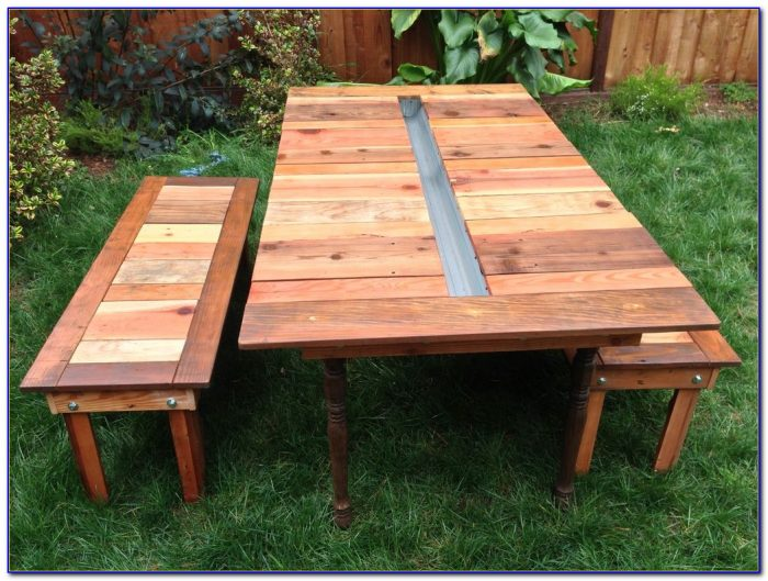 Round Picnic Table With Attached Benches Bench Home