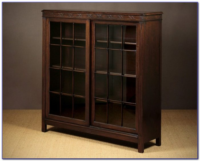 Wooden Bookcases With Sliding Glass Doors Bookcase