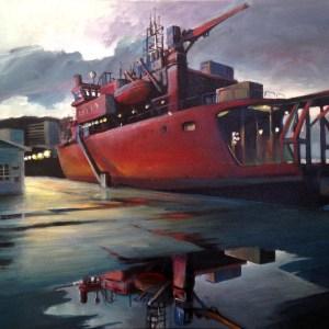 Icebreaker docked (64 x 79 cm) - $1400