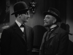 """Sherlock Holmes & Professor Moriarty, from """"The Adventures of Sherlock Holmes,"""" 1939."""