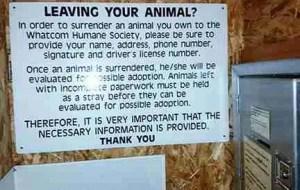 Signage at Whatcom Humane Society drop-off facility.  (Beth Clifton photo)