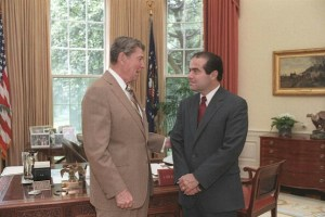 Former U.S. President Ronald Reagan appointed Antonin Scalia to the U.S. Supreme Court in 1986.
