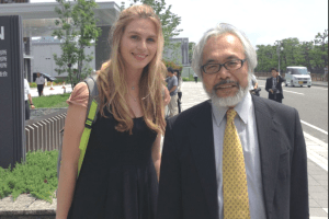 Sarah Lucas with her lead attorney, Takashi Takano. (Australia for Dolphins photo)