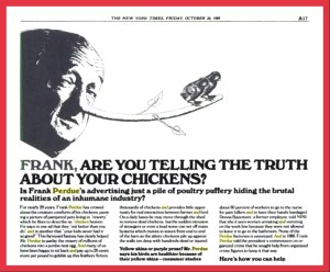 One of Henry Spira's many ads attacking Frank Perdue on behalf of chickens.