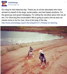 ColoRADogs posted to Facebook with a concession statement  this image of pit bulls squaring off as if to fight.  (Facebook)