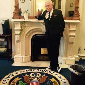 Ric O'Barry & his famous deck shoes in the White House.   (Ric O'Barry's Dolphin Project photo)