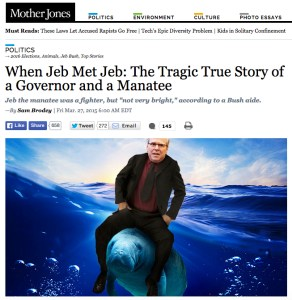 Sam Brodey of Mother Jones also recently exposed the Jeb Bush record on manatees.