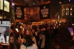 Torchlight parade against fur farming in Oslo,  November 2014.  (NOAH photo)