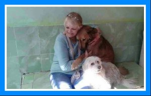 Jackie Sherbiny & two rescued dogs. (ESAF photo)