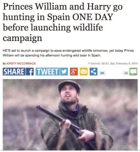 The Express was among the British media that thought Prince William's timing of a February 2014 hunting trip was bizarre.