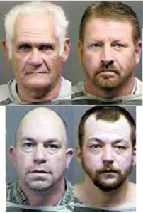 """Larry Joe Wheelon, Randall Stacy Gunter, Brandon Randall Lunsford, and Blake T. Primm were charged in 2013 for allegedly """"soring"""" walking horses, but the charges were dismissed in 2015."""