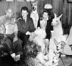 Cleveland Amory representing the Humane Society of the U.S. at the 1964 World's Fair in New York City.