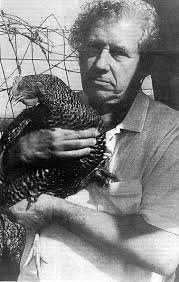 Henry Spira with a chicken.  (United Poultry Concerns photo)